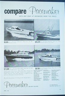 1960 Pacemaker Sea Skiff Cruiser Ad Egg Harbor NJ Fishing Boat Sport