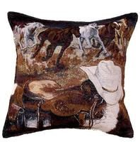 Western Way Horse Cowboy Gear Accent Throw Pillow 17 x 17