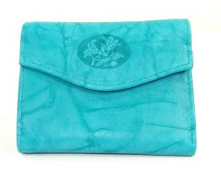 Buxton Genuine Leather Womens Small Mini Trifold Wallet Turquoise