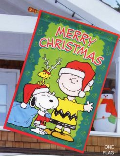 Snoopy Woodstock Charlie Brown Large Christmas Flag New Cute Peanuts