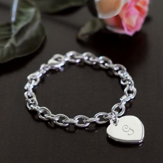 Personalized Heart Charm Bracelet with Initial