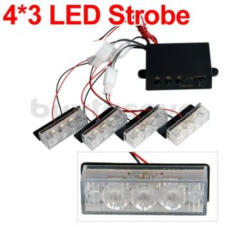 Set Car 4x3 12 LED White Flashing Emergency Strobe Flash Light