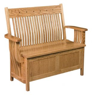Amish Oak Bench Wooden Wood Entry Benches Storage Seat