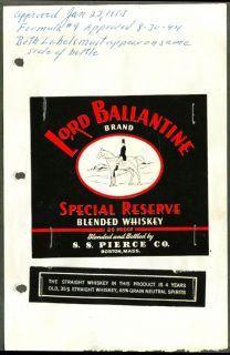 Lord Ballantine Blended Whiskey Label s s Pierce 1953