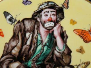 Emmett Kelly Jr Flambro Plate Spring 1991 D I Rust Butterfly Clown