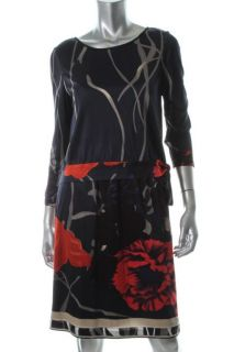 Elie Tahari New Larella Navy Floral Print Long Sleeve Wear to Work
