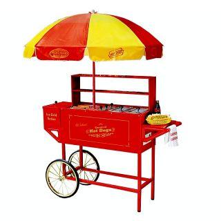 Nostalgia Electrics Carnival Hot Dog Cart With Umbrella