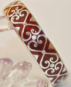 BRIGHTON Silver Red Crystal Hearts ENCANTO Clamp Bangle Bracelet