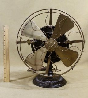 Antique General Electric Pancake Motor Brass 4 Blade 5 Speed Fan NR