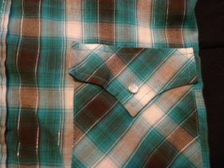 Mens Plains Western Wear Blue Plaid Short Sleeve Pearl Snap Shirt Sz