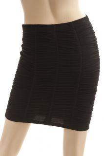 BCBG Max Azria Black Shirred Stretch Pencil Skirt Size L