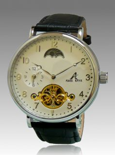 Adee Kaye Mens Automatic 22 Jewels White Dial Leather Watch AK7117