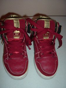 MENS SUPRA USED RED LEATHER & SUEDE HIGH TOP SNEAKERS/SKATE SHOES