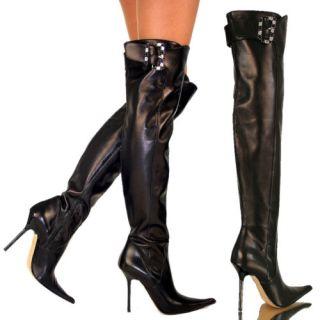 Biondini ★ Edel Sexy Overknee Lady Stiefel Schwarz 39