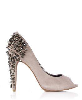 Sam Edelman Truffle Lorissa Spike Suede Peep Toe Court Shoe UK 3 US 5