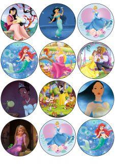 12 Disney Princess Edible Cupcake Toppers Rice Paper