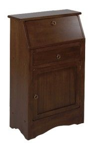 Elegant Vintage Syle Secretary Desk Antique Walnut Finish Cabinet