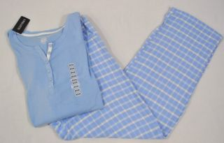New Ellen Tracy Womens Pajama Set L s Henley Flannel Pants Blue Plaid
