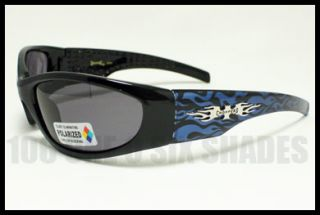 Polarized Sunglasses No Glare Mens Biker Choppers Blue