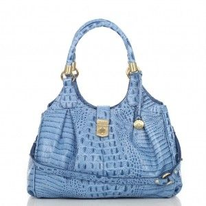 Brahmin Elisa Pool Melbourne Blue Croco Leather Hobo Shoulder Handbag