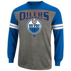 Edmonton Oilers NHL Crease Blue Long Sleeve T Shirt Tee