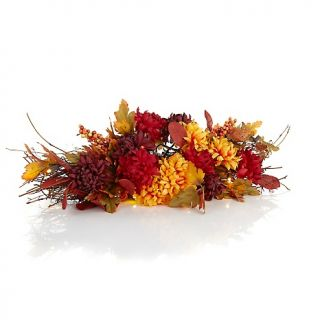 Fall/Harvest Mums & Berries Battery Operated 26 LED Centerpiece