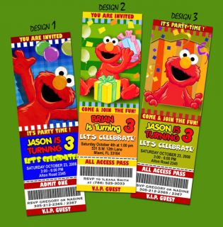 ELMO SESAME STREET BIRTHDAY PARTY INVITATION TICKET 1ST   abby cadabby