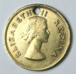 Vintage 1960 Coin Elizabeth II Regina South Africa 1 2 D Drilled