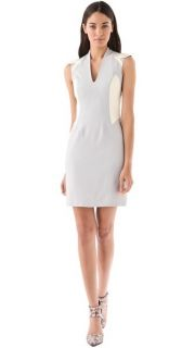 695 Helmut Lang Blistered Leather Paneled Stretch Wool Jersey Dress