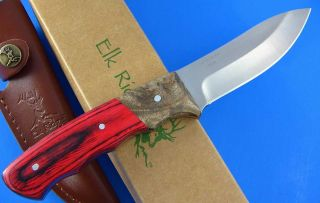 Elk Ridge Burl Wood Handle Fixed Blade Full Tang Drop Point Hunting