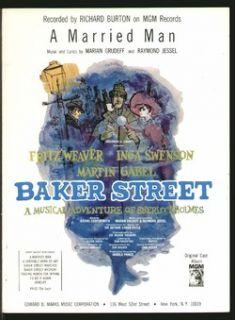 Baker Street 1964 A Married Man Sherlock Holmes BWY Show Vintage Sheet