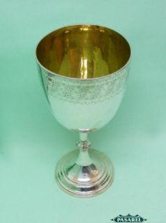 Frederick Elkington Co Sterling Silver Large Cup Goblet England 1886