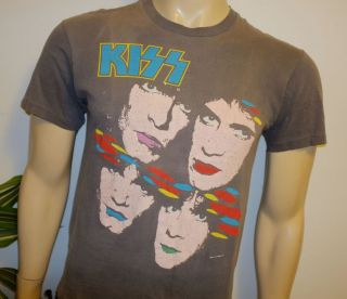 KISS* vintage faded rock metal concert tour shirt (M/L) 80s Eric Carr