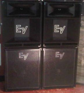 EV Speakers 1 pair 18 subwoofers 1 pair 15 mids w built in horns