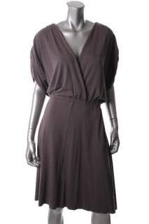 Emma Emilie Purple Dolman Sleeves Wrap Top Blouson Casual Dress Plus