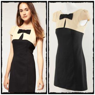 Bow Short Sleeve Cocktail Evening Mini Dress Size M L 14346