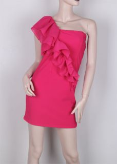 Sexy One Shoulder Padded Ruffle Party Cocktail Dress D273