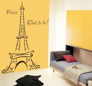 Eiffel Tower Paris Ooh La La Wall Deco Vinyl Decal 6ft