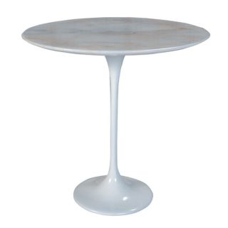 Jacob Contemporary Round Side Table White Marble Top