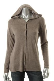 Eileen Fisher Brown Wool Heathered Stripes Reversible Hooded Sweater