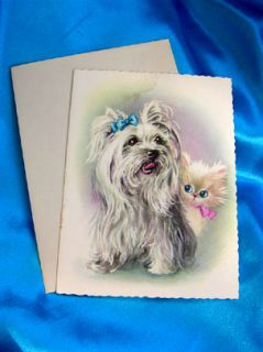 Silky Terrier Yorkie Maltese Shih Tzu Dog Cat Old Card Bologonese