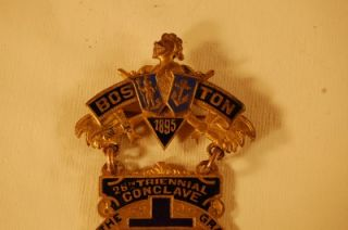 1895 Grand Encampment Knights Templar Masonic Pin Badge Medal Boston