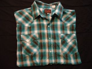 Mens Plains Western Wear Blue Plaid Short Sleeve Pearl Snap Shirt Sz
