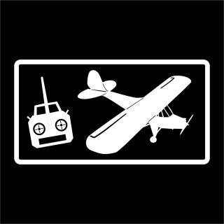 RC airplane w / control white vinyl car window sticker decal
