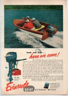 Original 1954 Vintage Ad Evinrude Outboard Motors Big Twin 25 HP Wood