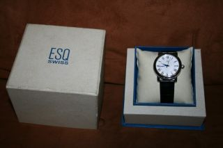 Esq Swiss Mens Watch White Face Black Leather Band
