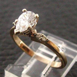 Estate Vintage 1980s 14k Yellow Gold Pear Shaped Diamond Ladies