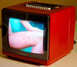 Emerson Space Age Retro Red 1980s Vintage Color TV