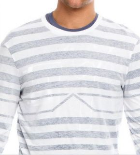 Armani Exchange Subtle Stripe Long Sleeve T Shirt Heather White