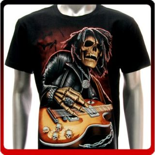 Sz M L XL Tattoo Glow in Dark Skull Angel Guitar Music Emo